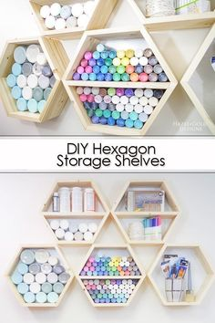 Diy Craft 68503 Learn how to make these DIY Hexagon storage shelves using easy woodworking plans. Upgrade your craft room storage and organize your crafts in a beautiful way. Full photo tutorial and plans in this post, along with an itemized supply list. Craft Room Storage, Craft Organization, Storage Shelves, Storage Ideas, Craft Shelves, Craft Storage Solutions, Organization Quotes, Paper Storage, Easy Storage