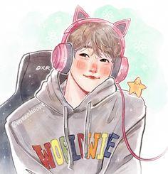 Baekhyun Fanart, Chanbaek Fanart, Kpop Fanart, Exo Cartoon, Exo Fan Art, Marvel Drawings, Fandoms, Disney Fan Art, Manga Art