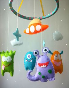 Crib mobile, Baby mobile, Nursery mobile, Baby crib mobile, Baby mobile hanging, Felt mobile, Alien crib mobile, Monster mobile, Space If you want other