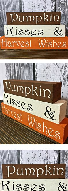 Pumpkin Kisses and Harvest Wishes - Fall Home Decor - Fall Blocks - Fall Decorations - Shelf Sitters - Wooden Blocks - Pumpkin Sign