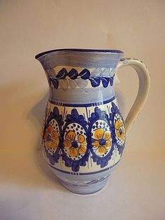 """Vintage Blue and White Porcelain Pitcher with Yellow Flowers Signed #9""""tall#"""