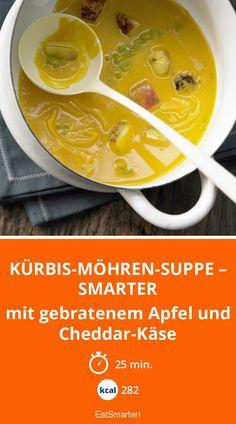 Kürbis-Möhren-Suppe – smarter - mit gebratenem Apfel und Cheddar-Käse - smarter - Kalorien: 282 kcal - Zeit: 25 Min. | eatsmarter.de