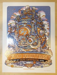 "Foo Fighters - silkscreen concert poster (click image for more detail) Artist: Guy Burwell Venue: Isleta Amphitheater Location: Albuquerque, NM Concert Date: 9/27/2015 Size: 17 1/2"" x 23 1/4"" Edition:"