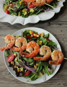 Summer Salad with Avocado, Corn, and Grilled Herb Shrimp