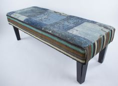 Vintage Kilim Rug Bench (Striped Side Panels) Decor, Ottoman, Furniture, Vintage Kilim Rug, Home Decor, Rugs, Panel Siding, Persian Restaurant, Paneling