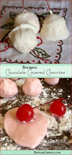 Homemade white chocolate covered cherries spiked with bourbon! SO good and super easy, too! You've gotta try these! From RestlessChipotle.com via @Marye at Restless Chipotle