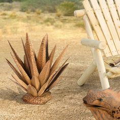 Sunjoy Agave with Rust Finish 20-inch Garden Statue,, Outdoor Décor