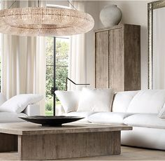 "Love coffee table & Crystal Halo Chandelier 59"" and everything else about this room, all from Restoration Hardware"