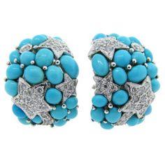 Star Set Turquoise Half Hoop Earrings