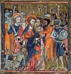 Soldat mit Buckler, Avignon BM MS.121 Psalter-Hours, fol. 49r, 1330-1340, Avignon.