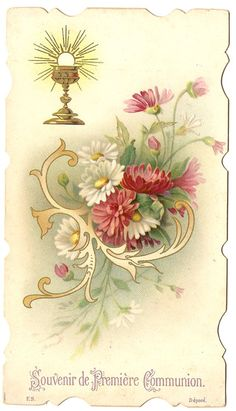 1905 Communion Chalice & Flowers Antique French by 12StarsVintage