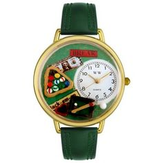 Billiards Hunter Green Leather And Goldtone Watch #G0430006 - http://www.artistic-watches.com/2012/11/26/billiards-hunter-green-leather-and-goldtone-watch-g0430006/