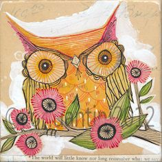 orange owl - watercolor painting - 8 x 8 inch - limited edition archival art print by cori dantini