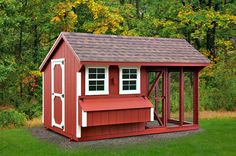 """8'x12' Quaker Style Combination Chicken Coop with 6 nesting boxes--holds 22-26 chickens and is 101"""" tall http://www.backyardunlimited.com"""