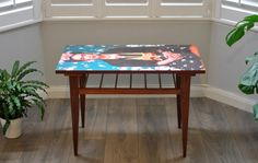 A Fab retro mid century small teak table featuring the beautiful and iconic Frida Kahlo on the decoupaged surface This fun little table is sturdy, light and fun Height Upcycled Vintage, Retro Vintage, Danish Style, Decoupage Ideas, Teak Table, Unique Home Decor, Painted Furniture, Creative Ideas, Room Ideas