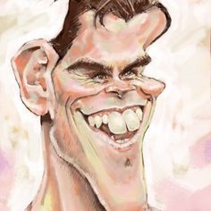 Caricatura de famosos: Gareth Bale. Caricatura Digital. Liam Neeson, Anton, Gareth Bale, Halloween Face Makeup, Water Colors, Portraits, Celebrity Caricatures, Gold, Fotografia