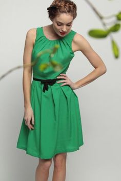 Jade Green, Knee-Length Tank Dress with Black Accent Belt (shallow scoop neck, loose fit)