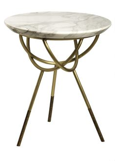 Atlas #SideTable by Avram Rusu Studio: brushed Brass with Calcutta Gold marble top.