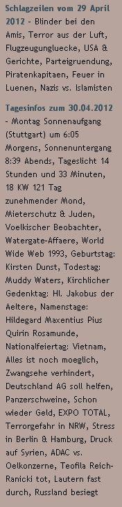 Schlagzeilen vom 29 April 2012 /  Tagesinfos zum 30.04.2012 - http://www.schoeneswetter.com