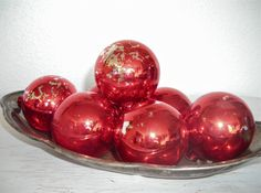 bright red Christmas ornaments - vintage glass balls with naturally distressed patina - shabby cottage chic - ornate hollywood regency set 7 by shesitsbytheseashore on Etsy