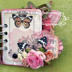 Butterfly Mini Album by Anita Scroggins, Prima papers and embellies