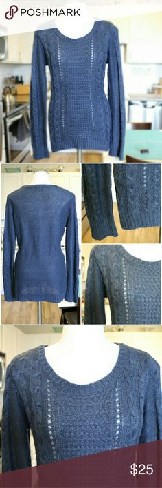 Crew Neck Knit Pullover Sweater Blue knit crew neck sweater  100% Acrylic Pink Rose Sweaters Crew & Scoop Necks