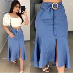 Plus size outfits Skirt Outfits, Chic Outfits, Dress Skirt, The Dress, Fashion Outfits, Skirt Suit, Cute Casual Outfits, Dress Fashion, Waist Skirt