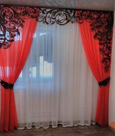 Image result for ажур из жгута для штор Unique Curtains, Elegant Curtains, Beautiful Curtains, Bay Window Curtains, Home Curtains, Folding Bed Frame, Striped Room, Diy Sofa, Curtain Designs