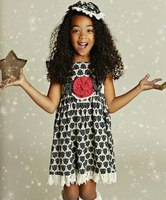 Loving this Mustard Pie Black & Ivory Delphine Party Dress - Infant, Toddler & Girls on #zulily! #zulilyfinds