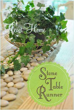 Beautiful DIY Stone Table Runner