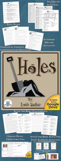 Holes Novel Study is a Common Core Standard aligned book unit to be used with Holes by Louis Sachar. This download contains both a printable format as well as a Google Drive™ compatible format.