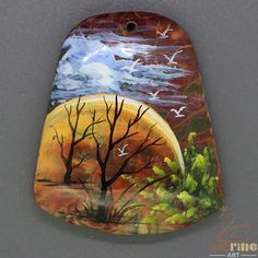 Fashion Pendant Hand Painted Scenery Natural Gemstone   ZL805323 #ZL #Pendant