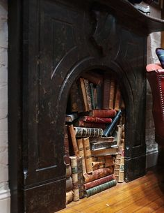 We have a fireplace we're not using.but I don't think it would look this cool or cozy with all our modern books? Fireplace Library, West Village, New York City photo via hearts Old Books, Antique Books, Idea Books, Ex Libris, I Love Books, Books To Read, Book Art, Looks Dark, New York City Photos