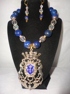 Gorgeous Austrian Crystals Lapiz Horse Crest Pendant Necklace********. by RamsesTreasure on Etsy