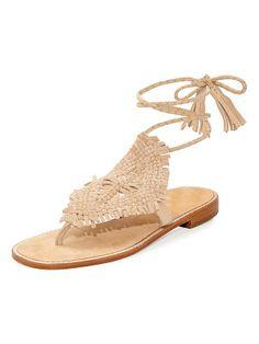 f0033602f Joie Kacia Woven Flat Ankle-Wrap Sandal Ankle Wrap Sandals