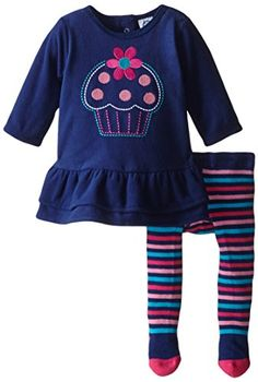This adorable Gerber girls 2-Piece navy embroidered cupcake dress with stripe tight is perfect for fall! Available in sizes NB - 24m #fallfashion #gerberchildrenswear