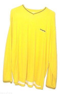 Chaps Ralph Lauren Mens Yellow 100% Cotton Long Sleeve V Neck Sweatshirt XXL 2XL #Chaps #SweatshirtVNeck