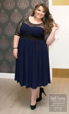 "Real Curve Cutie Jennifer (5'6"") looks simply beautiful in our plus size Twirl and Swirl Cocktail Dress."