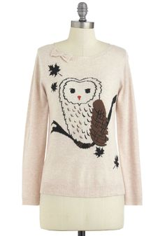 Bough House Sweater by Yumi - Mid-length, Tan, Brown, Black, Bows, Knitted, Owls, Long Sleeve, Casual