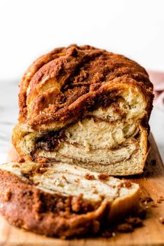 How to make soft, butter, and flaky cinnamon twisted bread with a crunchy cinnamon topping on sallysbakingaddiction.com