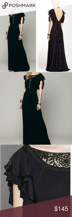 """FREE PEOPLE FILM NOIR MAXI DRESS Gorgeous and sleek maxi dress with ruffled fabric at each shoulder. Top layer at shoulder is a sheer chiffon. Intricate crochet detailing at front of neckline. Low crisscross """"V""""-back drop. Tiered ruffles run down the entire middle back. Fitted at waist. Care/Import 96% Rayon 4% Spandex Machine Wash Cold Import Measurements Length: 59 in Bust (all around): 32 in Waist (all around): 27 in Sleeve Length (from shoulder): 6 in Free People Dresses Maxi"""
