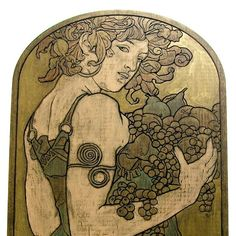 Art Nouveau Carved and Painted Wood Panel - Alphonse Mucha - by antfarm, $38.00