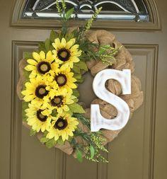 Sunflower Burlap monogram wreath