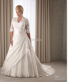 Wholesale Plus Size 2013 New Graceful Lace Appliques Taffeta A-line Bridal Gown Dress Wedding Dresses RL1661, Free shipping, $150.08-164.64/Piece | DHgate