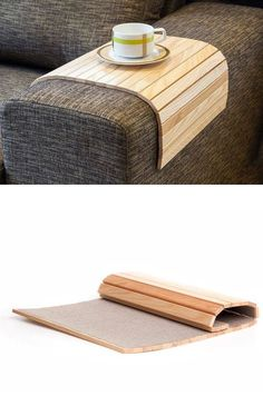 Make a bendable wood tray for furniture arms! use a felt, mesh or microfiber backing and glue wood slats to it! (539×815)