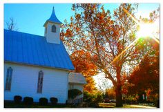 """I stopped to take this picture because I was struck by the loveliness of the tree beside the white country church.  It wasn't until much later that I looked at the picture and noticed the cross in the sunshine.  """"He never left them without evidence of himself and his goodness. For instance, he sends you rain and good crops and gives you food and joyful hearts."""" Acts 14:17 (NLT)"""