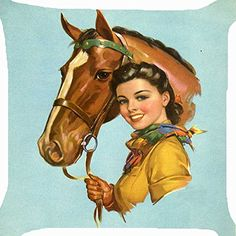 Cushion cover throw pillow case 18 inch retro vintage cow girl pet horse cute both sides image zipper Pillow Cover Vintage Cowgirl, Vintage Horse, Pin Ups Vintage, Retro Vintage, Cowboy Art, Cowboy And Cowgirl, Retro Poster, Vintage Posters, Vintage Artwork