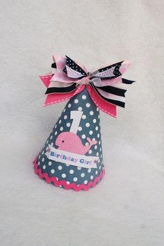 Sailor Girl Pink Whale birthday party hat in by LittlePinkTractor, $15.50