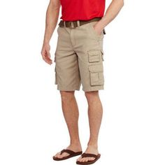 Faded Glory Men's Belted Stacked Cargo Short, Size: 42, Beige