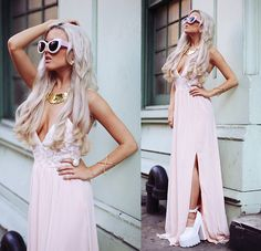 Wildfox Couture Pink Kitten Frame, Missguided Pink Lace Dress, Sequin Nyc Gold Necklace, Jeffrey Campbell Skull White Wedge